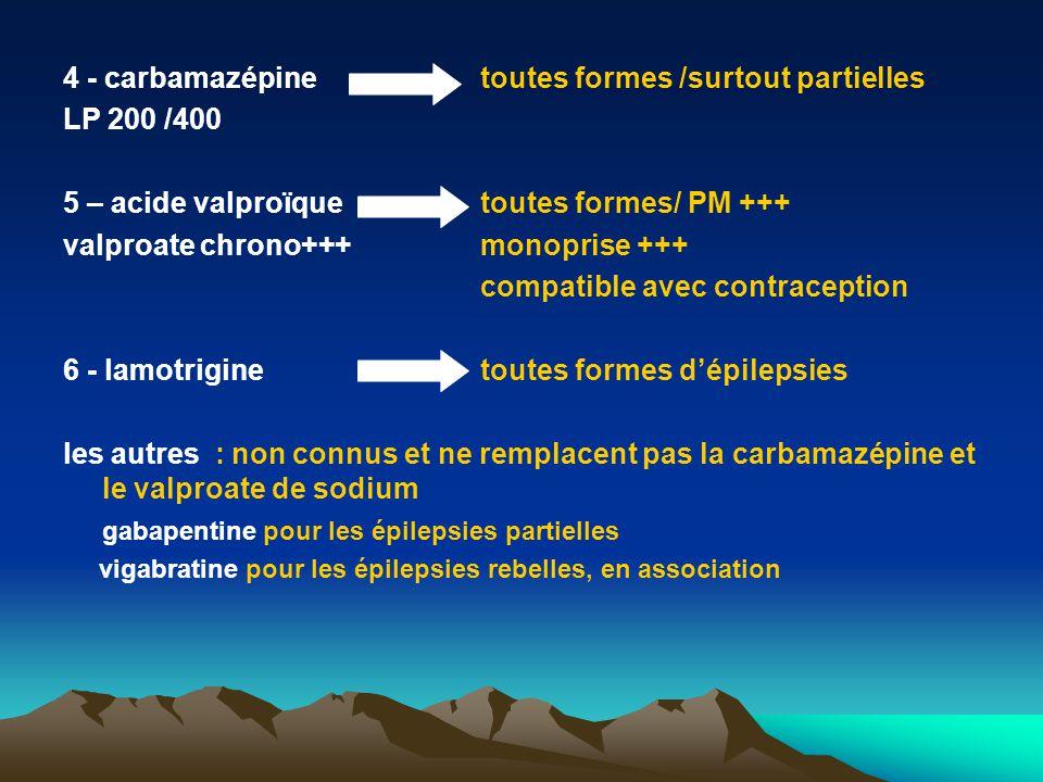 4 - carbamazépine toutes formes /surtout partielles LP 200 /400