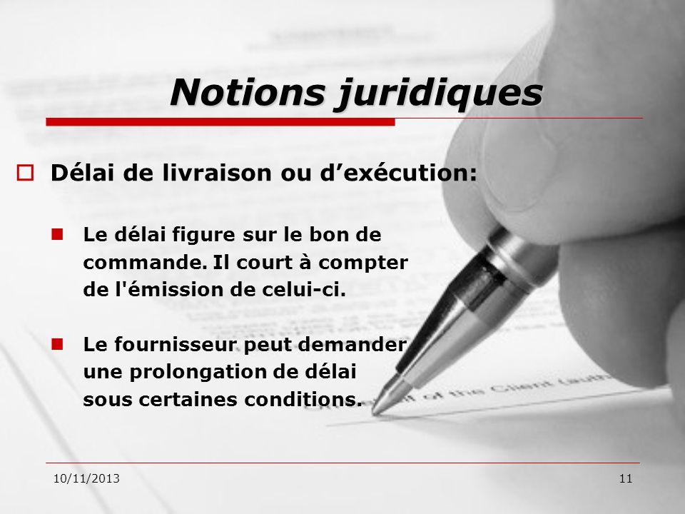 Notions juridiques Délai de livraison ou d'exécution: