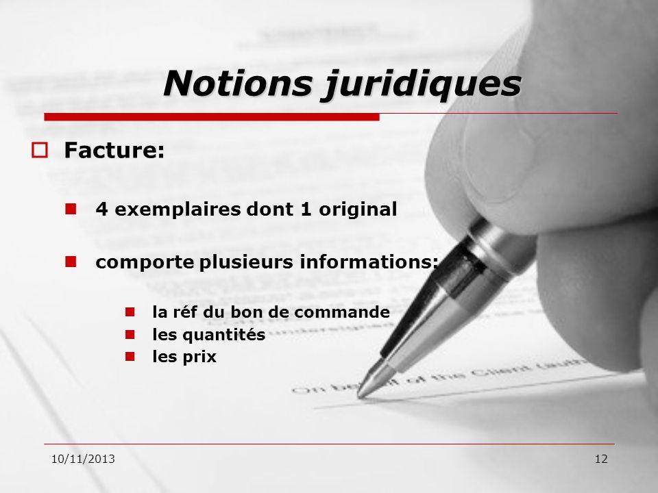 Notions juridiques Facture: 4 exemplaires dont 1 original