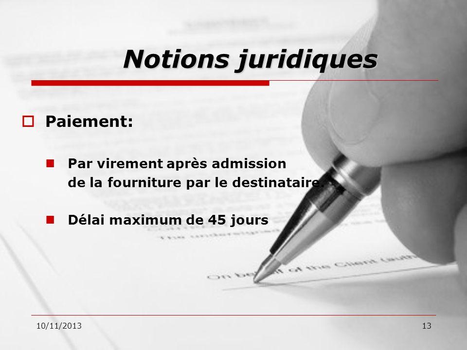Notions juridiques Paiement: Par virement après admission