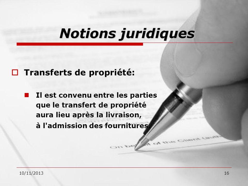 Notions juridiques Transferts de propriété: