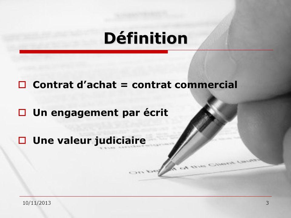 Définition Contrat d'achat = contrat commercial