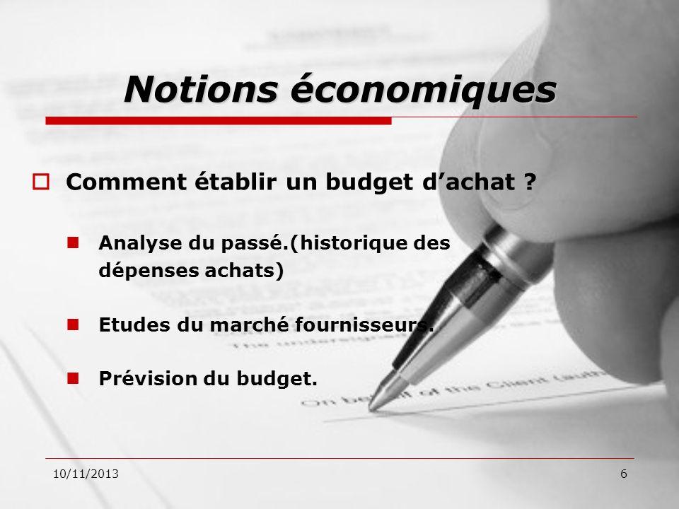 Notions économiques Comment établir un budget d'achat