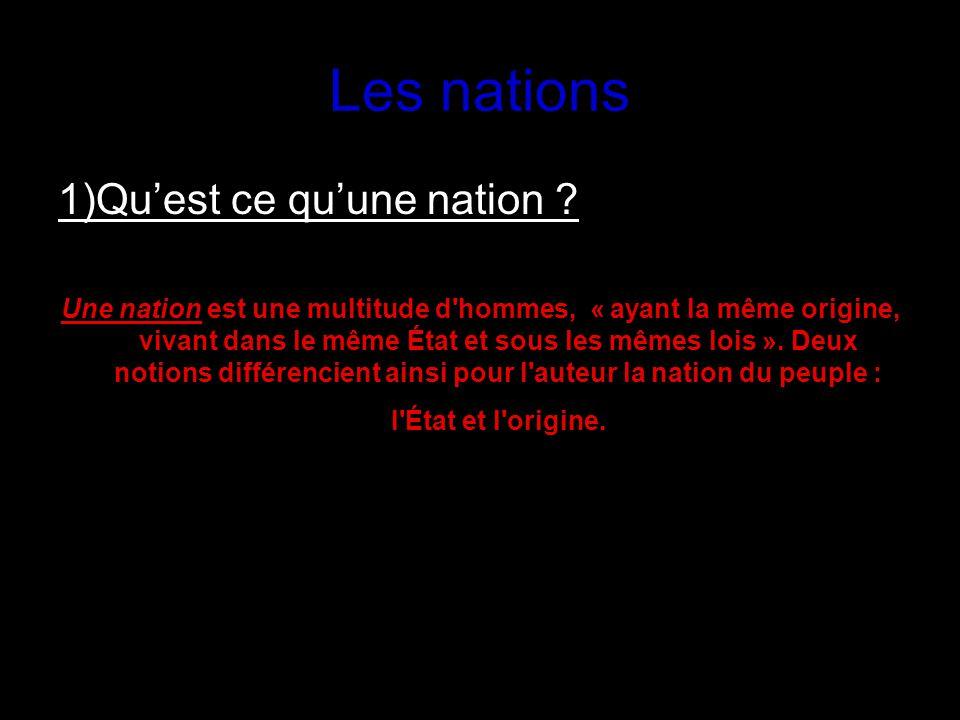 Les nations 1)Qu'est ce qu'une nation