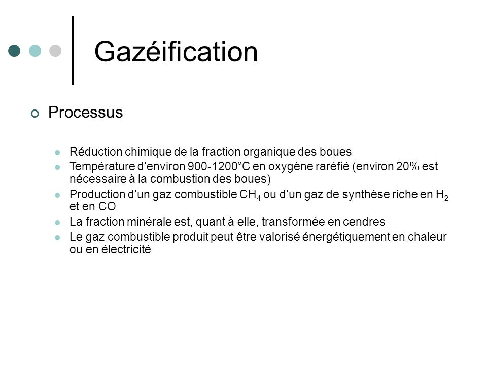 Gazéification Processus