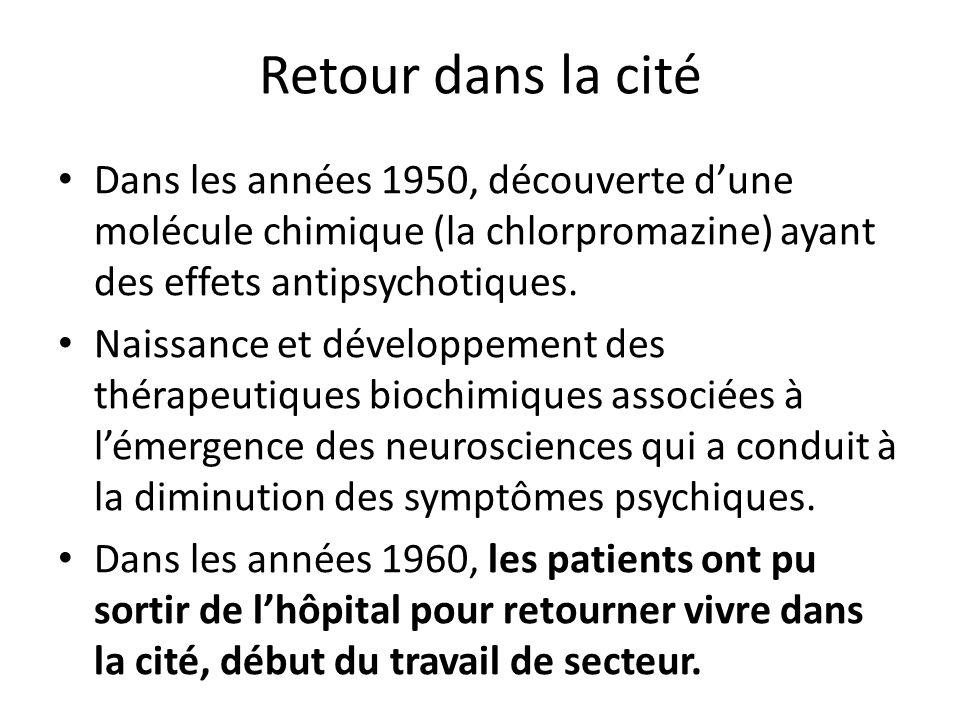 Retour dans la cité Dans les années 1950, découverte d'une molécule chimique (la chlorpromazine) ayant des effets antipsychotiques.