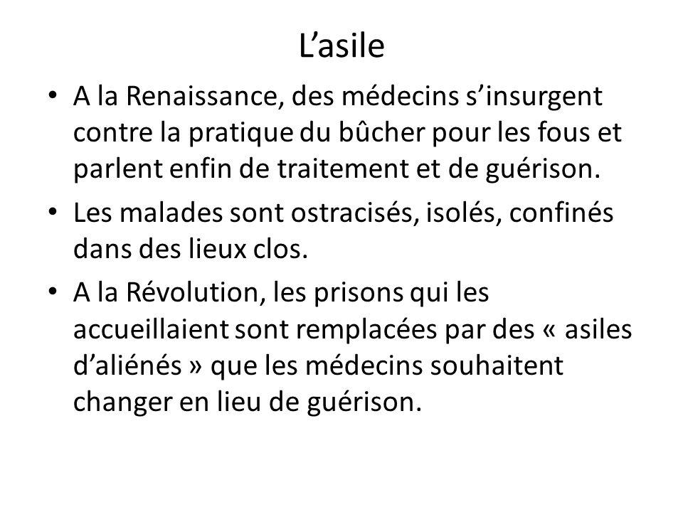L'asile A la Renaissance, des médecins s'insurgent contre la pratique du bûcher pour les fous et parlent enfin de traitement et de guérison.