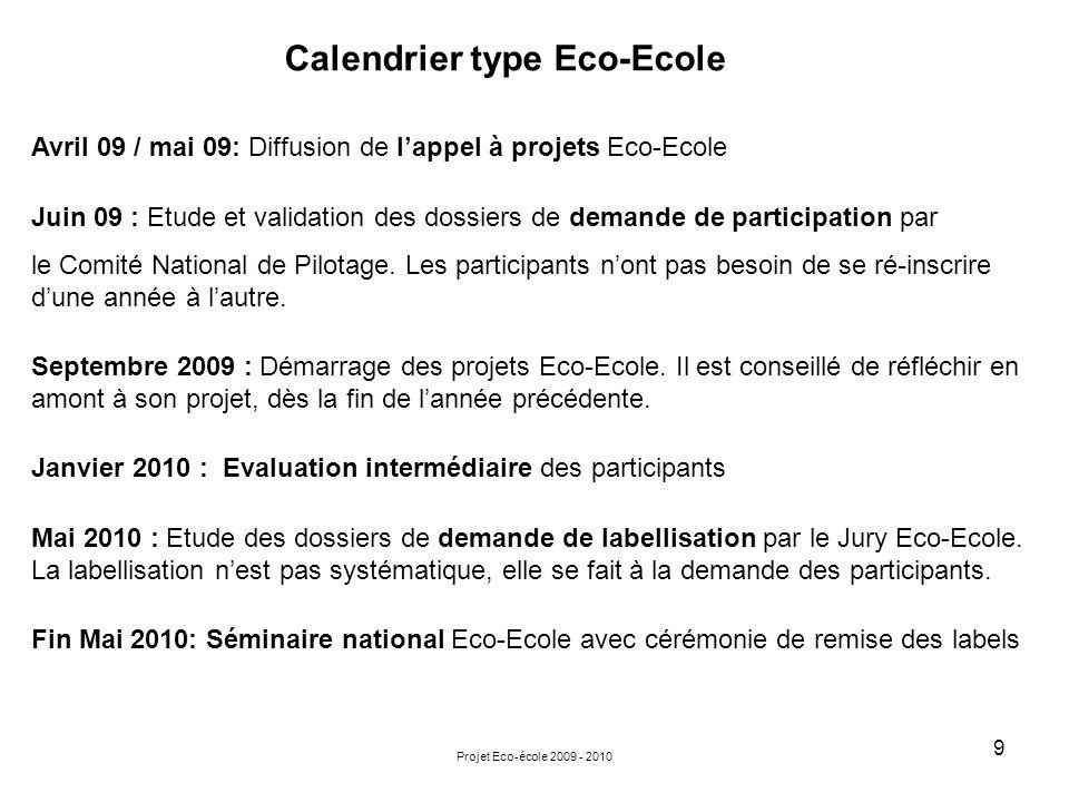 Calendrier type Eco-Ecole