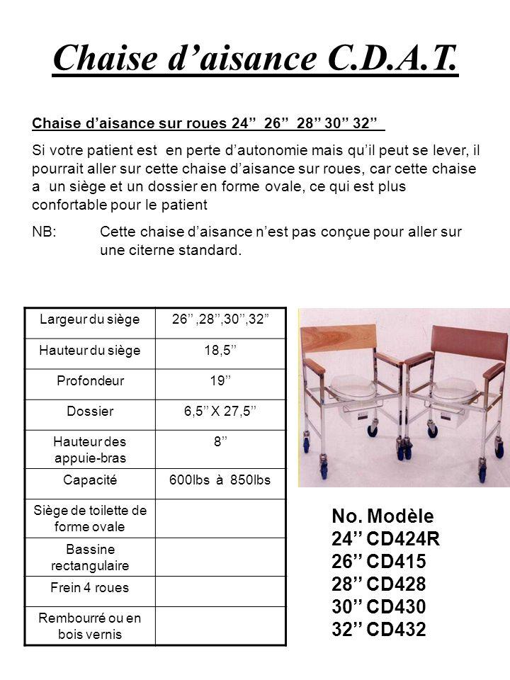 Chaise d'aisance C.D.A.T. No. Modèle 24'' CD424R 26'' CD415 28'' CD428