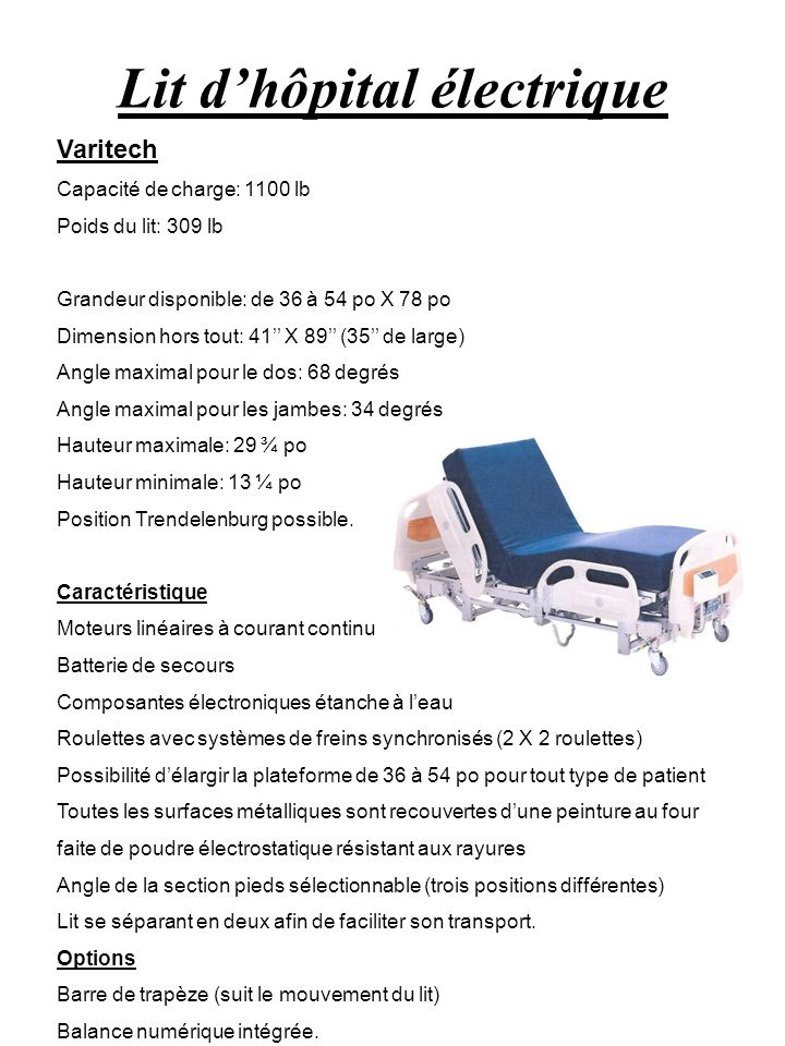 Lit d'hôpital électrique