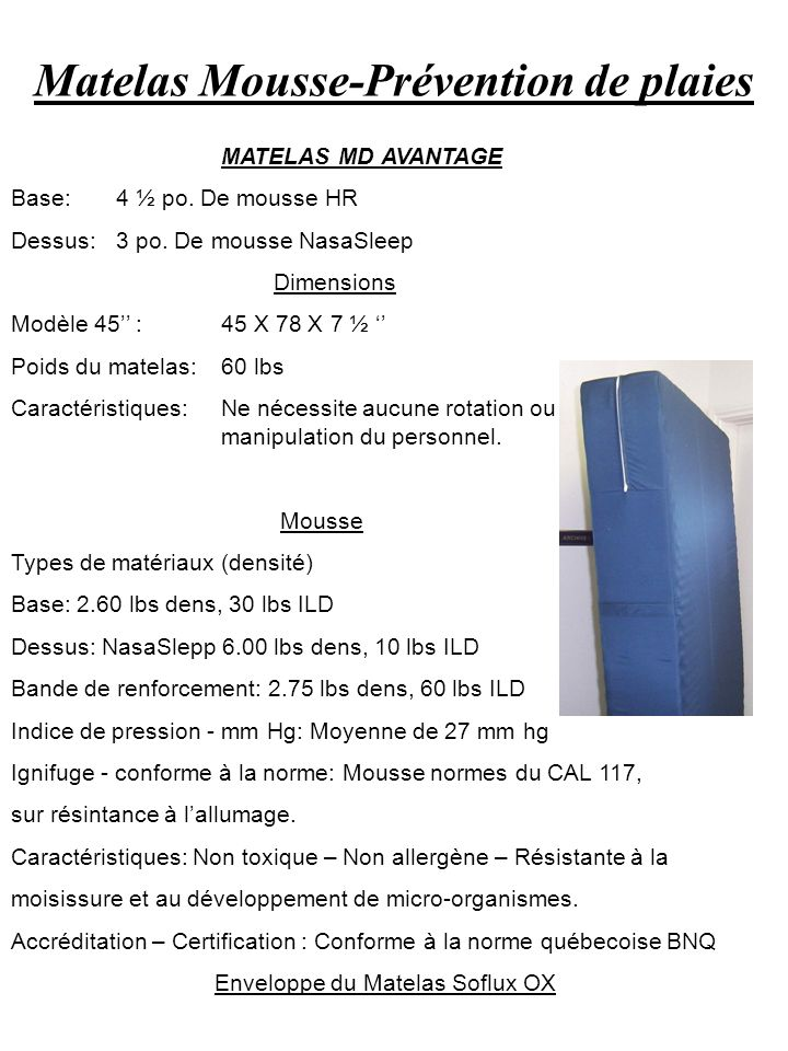 Matelas Mousse-Prévention de plaies