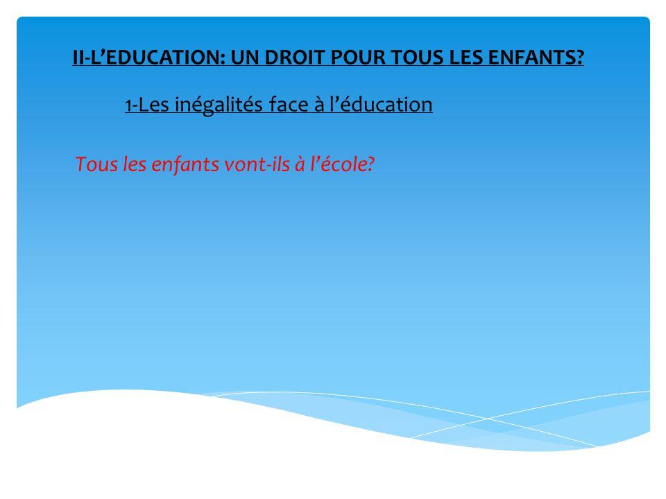 II-L'EDUCATION: UN DROIT POUR TOUS LES ENFANTS