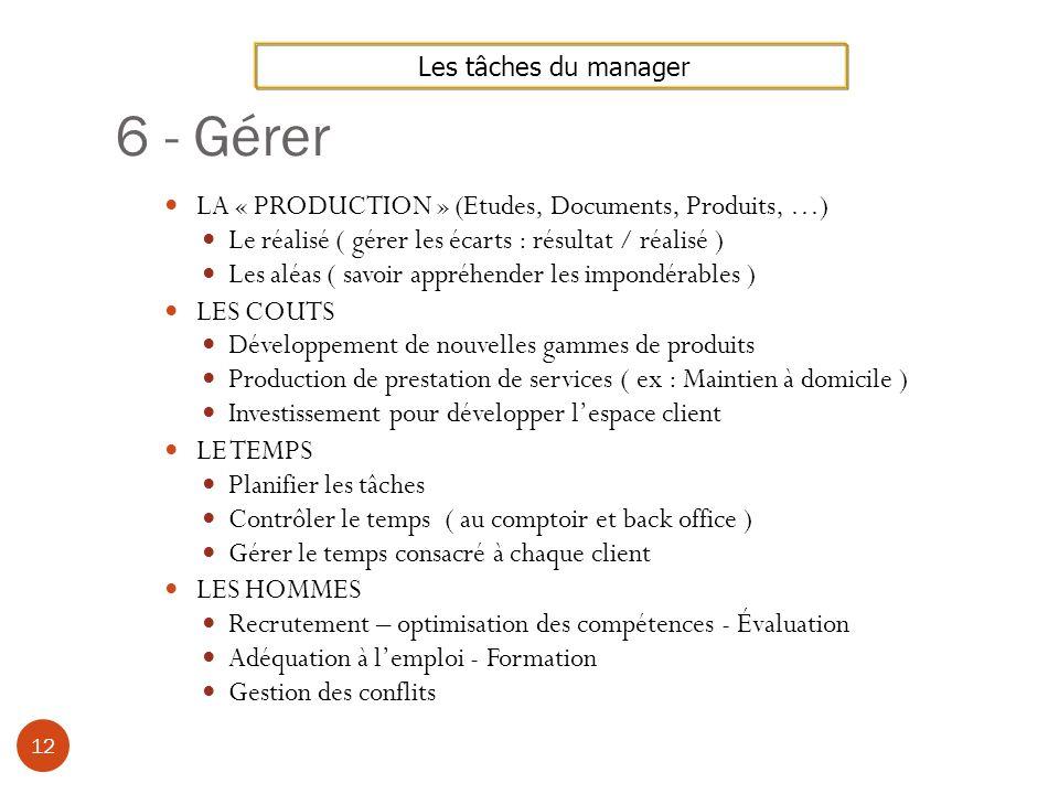 6 - Gérer LA « PRODUCTION » (Etudes, Documents, Produits, …)