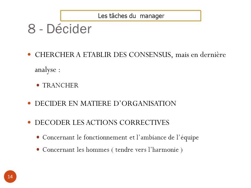 8 - DéciderLes tâches du manager. CHERCHER A ETABLIR DES CONSENSUS, mais en dernière analyse : TRANCHER.