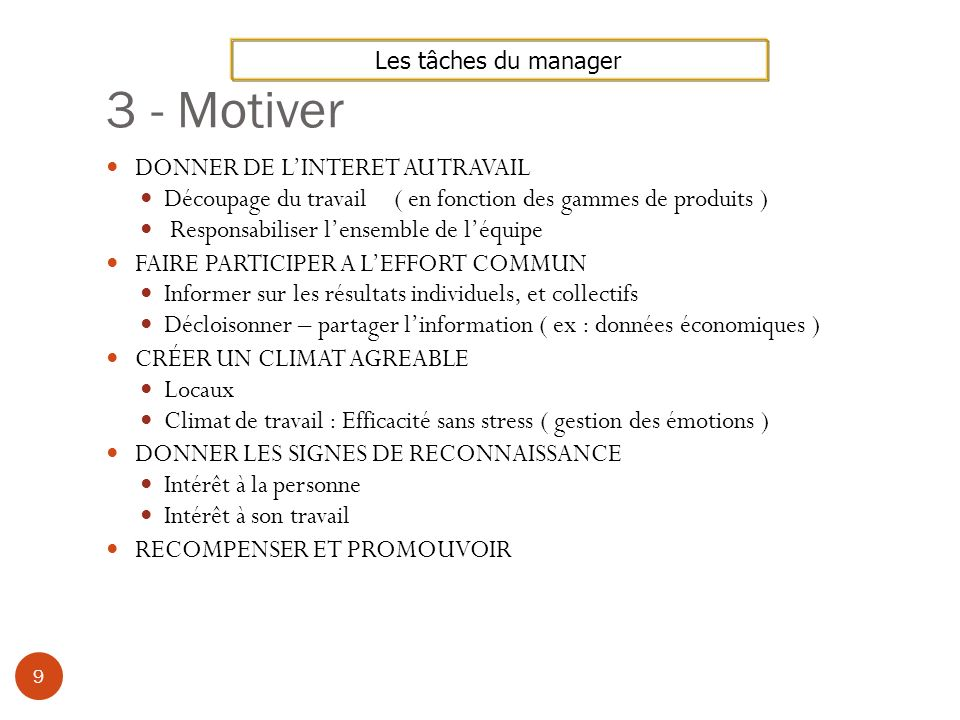 3 - Motiver DONNER DE L'INTERET AU TRAVAIL