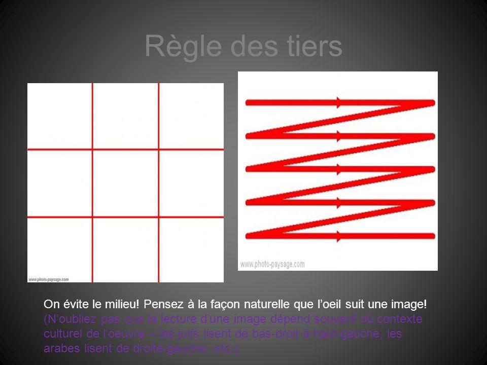 Règle des tiers On évite le milieu! Pensez à la façon naturelle que l'oeil suit une image!