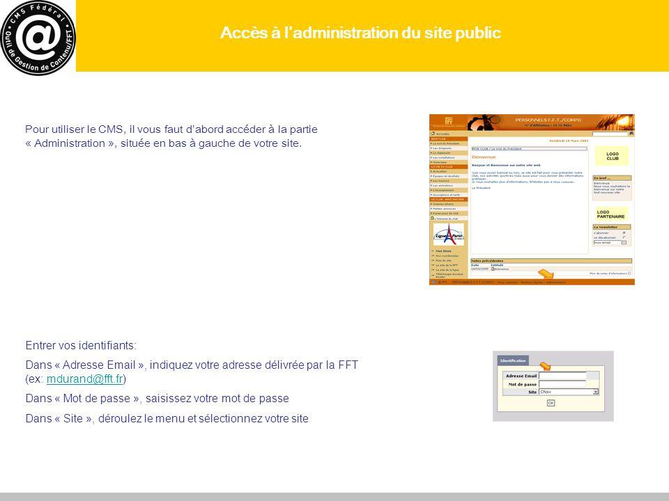 Accès à l'administration du site public