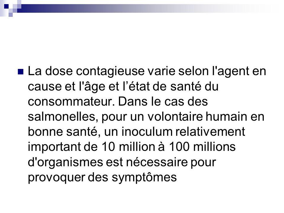 La dose contagieuse varie selon l agent en cause et l âge et l'état de santé du consommateur.