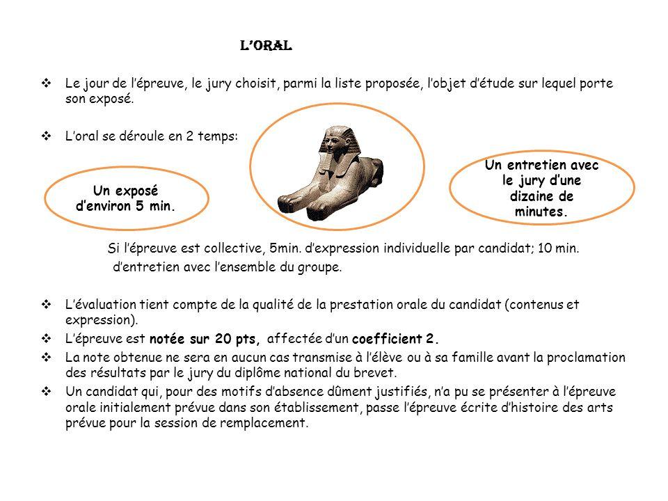 L'oral Le jour de l'épreuve, le jury choisit, parmi la liste proposée, l'objet d'étude sur lequel porte son exposé.