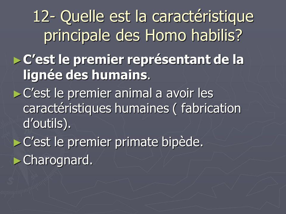 12- Quelle est la caractéristique principale des Homo habilis