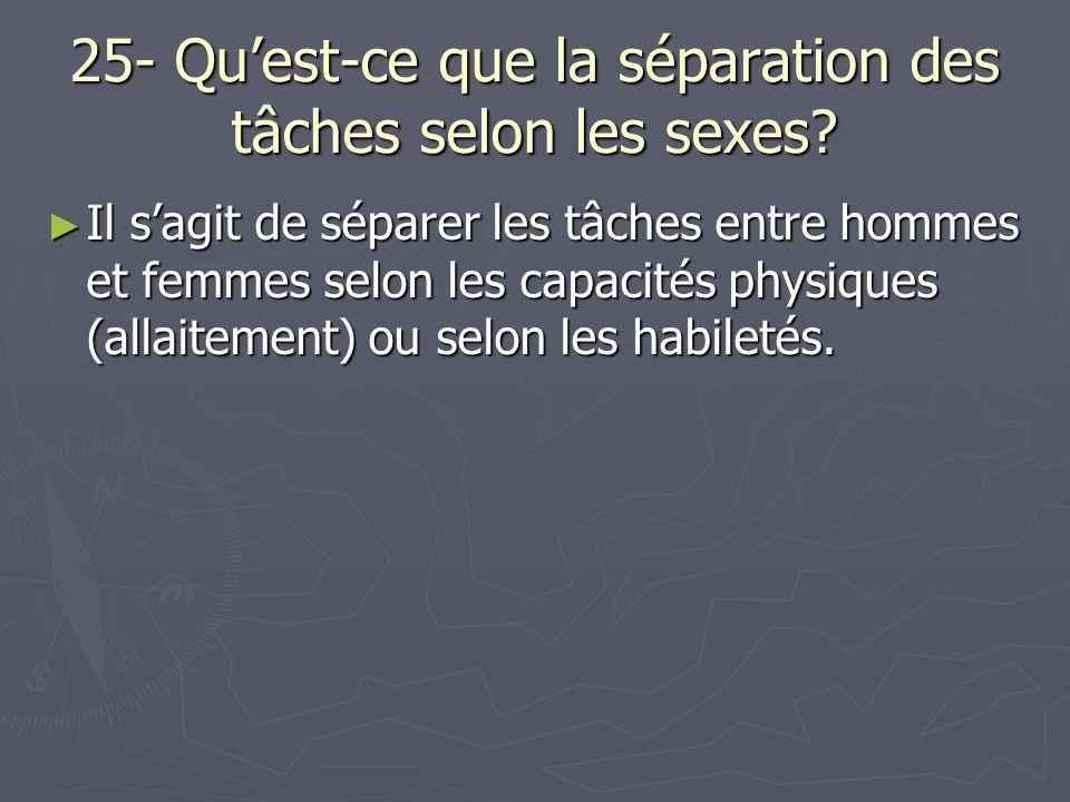 25- Qu'est-ce que la séparation des tâches selon les sexes