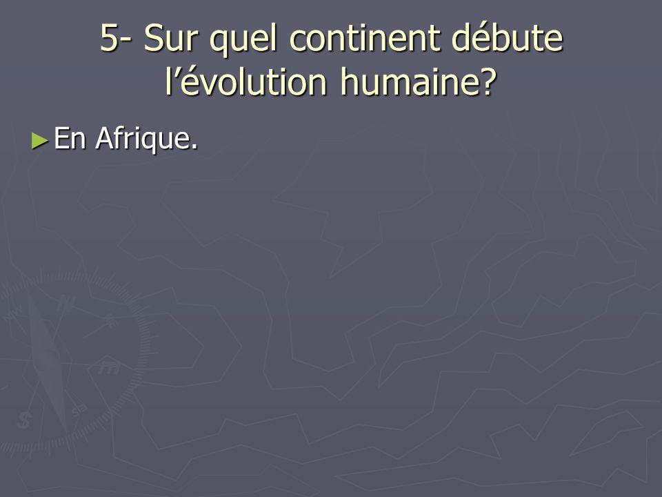 5- Sur quel continent débute l'évolution humaine
