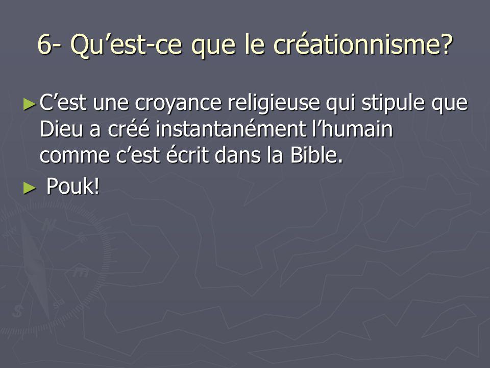 6- Qu'est-ce que le créationnisme