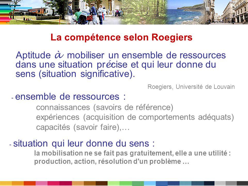 La compétence selon Roegiers