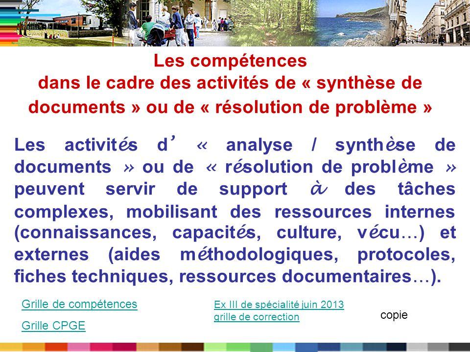 Les compétences dans le cadre des activités de « synthèse de documents » ou de « résolution de problème »