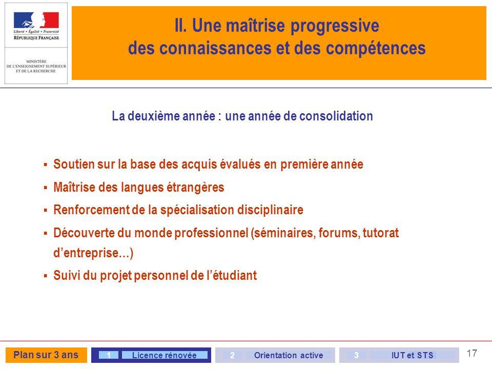II. Une maîtrise progressive des connaissances et des compétences