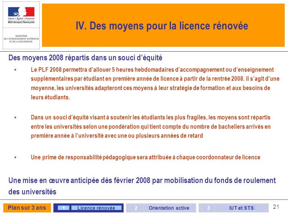 IV. Des moyens pour la licence rénovée