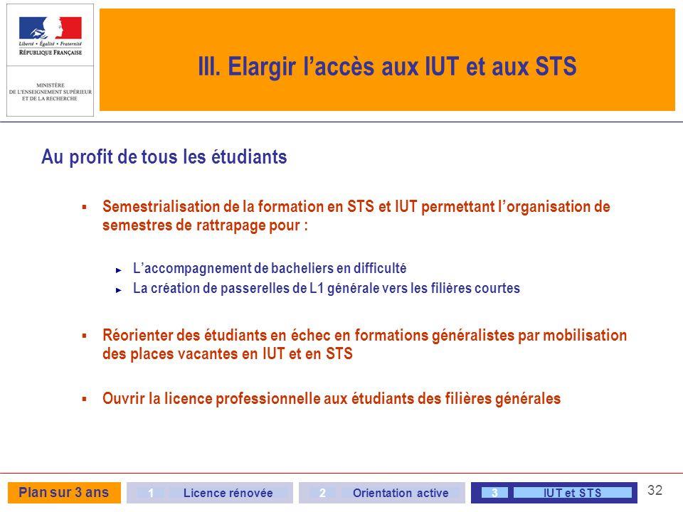 III. Elargir l'accès aux IUT et aux STS