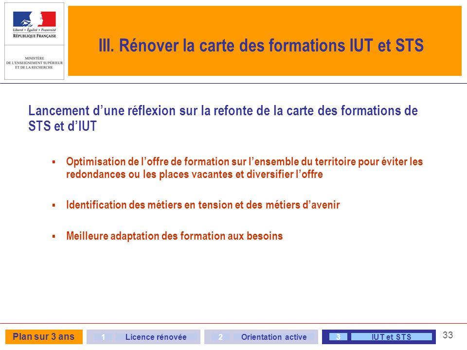 III. Rénover la carte des formations IUT et STS