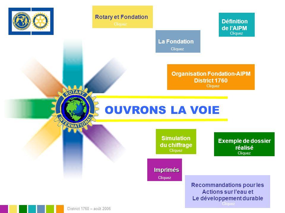 OUVRONS LA VOIE Rotary et Fondation Définition de l'AIPM La Fondation