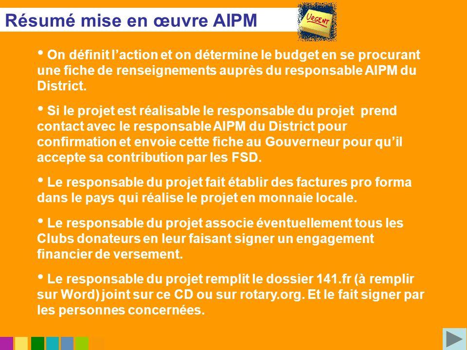Résumé mise en œuvre AIPM