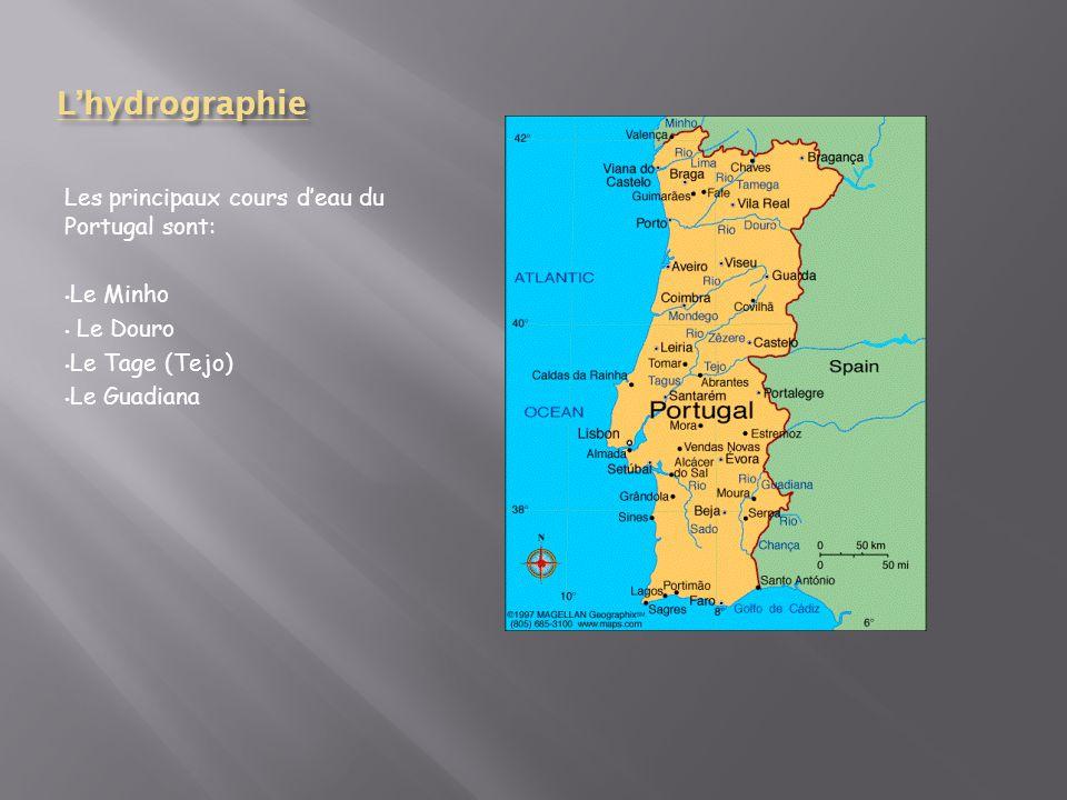 L'hydrographie Les principaux cours d'eau du Portugal sont: Le Minho