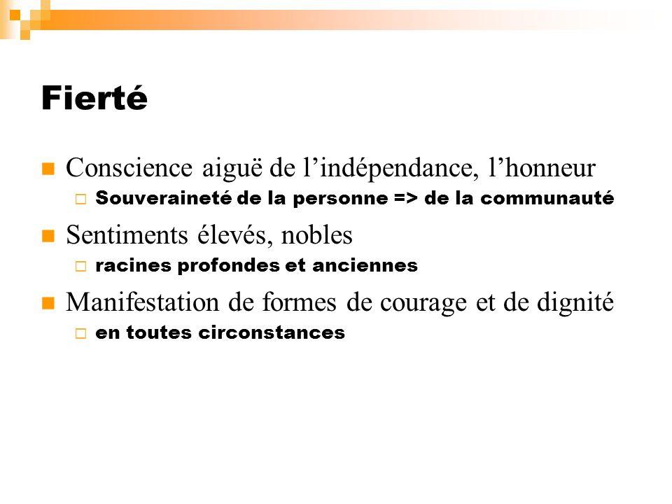Fierté Conscience aiguë de l'indépendance, l'honneur