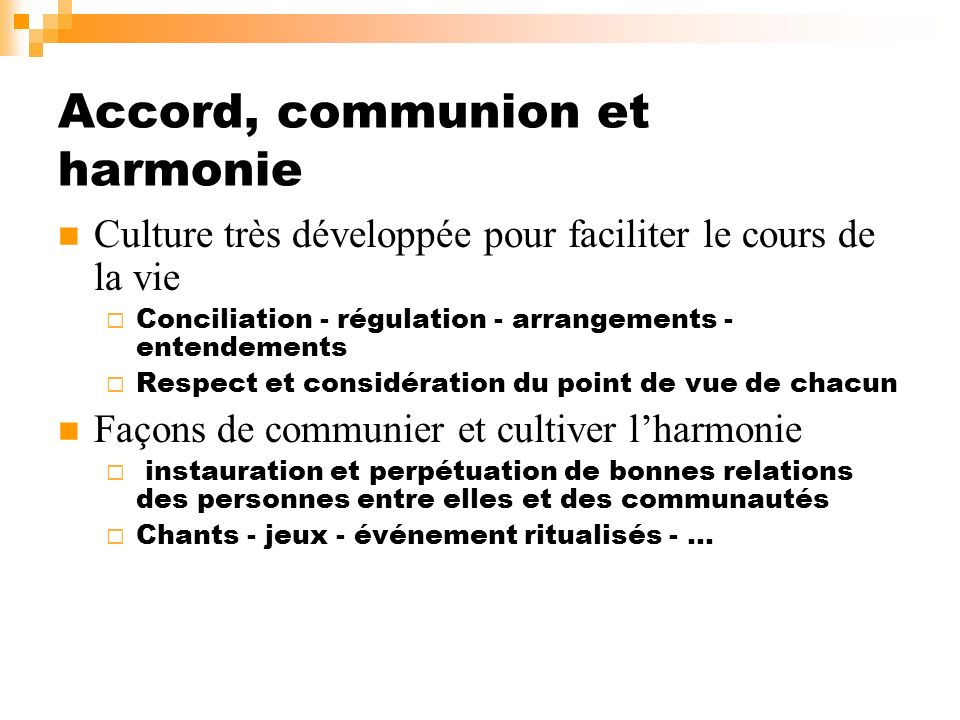 Accord, communion et harmonie
