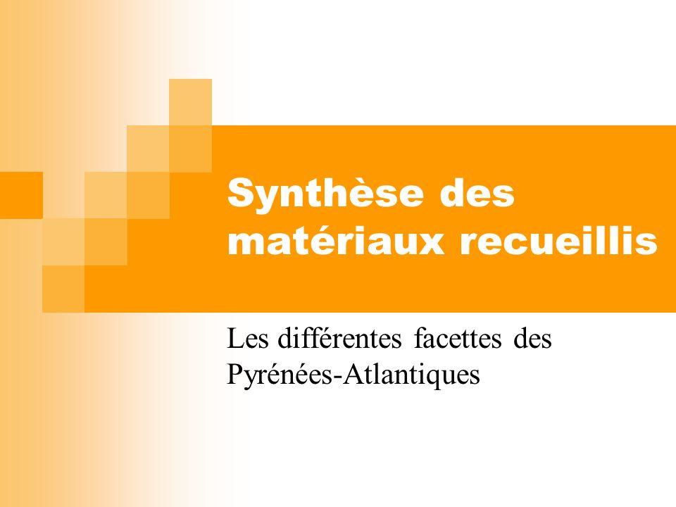 Synthèse des matériaux recueillis