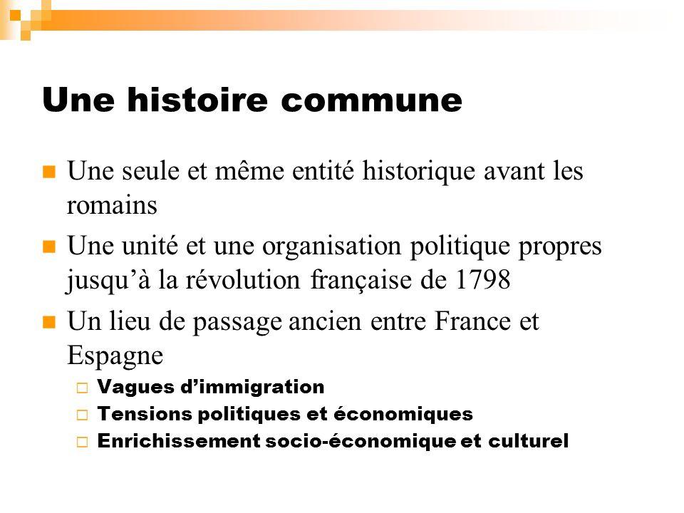 Une histoire commune Une seule et même entité historique avant les romains.