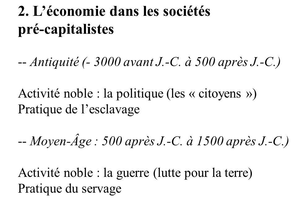 2. L'économie dans les sociétés pré-capitalistes
