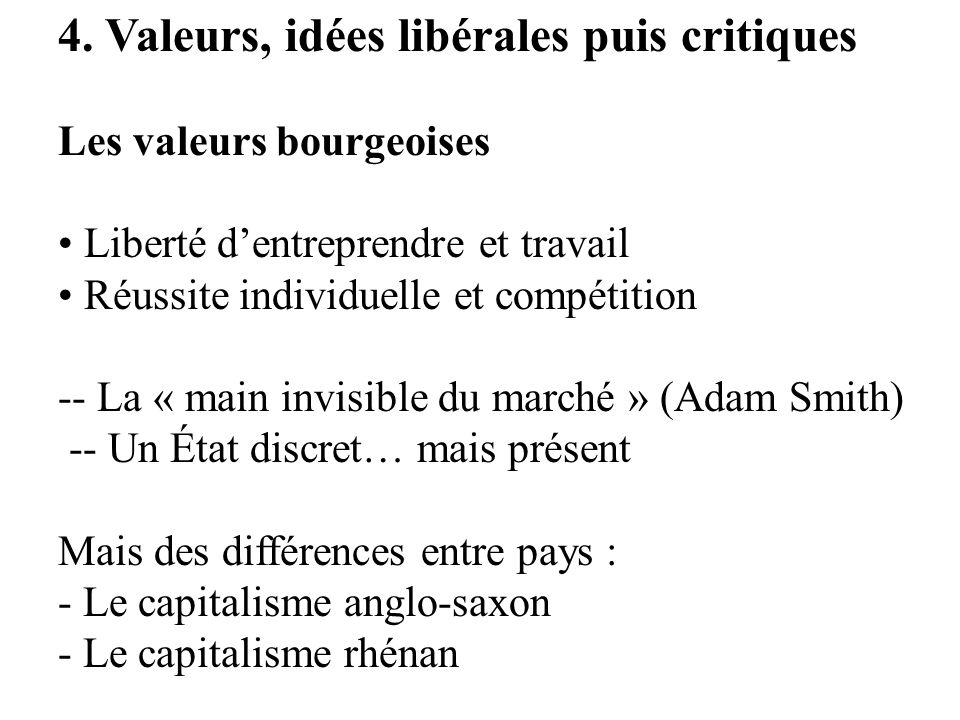 4. Valeurs, idées libérales puis critiques