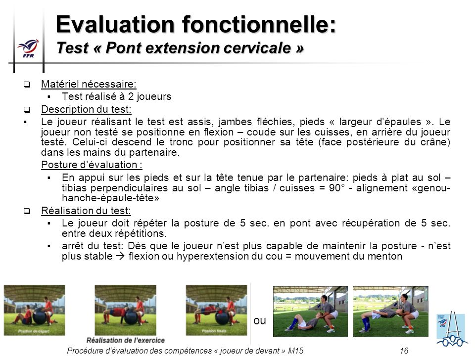 Evaluation fonctionnelle: Test « Pont extension cervicale »