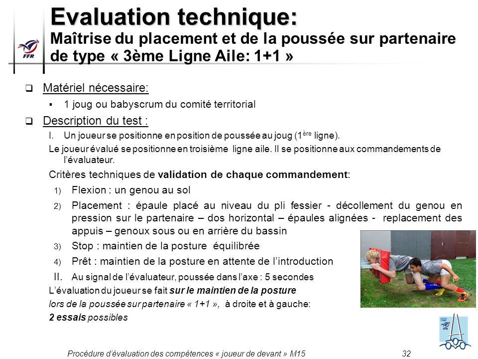 Evaluation technique: Maîtrise du placement et de la poussée sur partenaire de type « 3ème Ligne Aile: 1+1 »