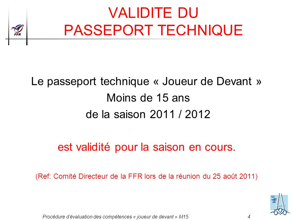 VALIDITE DU PASSEPORT TECHNIQUE
