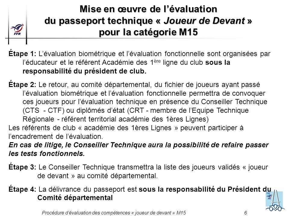 Mise en œuvre de l'évaluation du passeport technique « Joueur de Devant » pour la catégorie M15