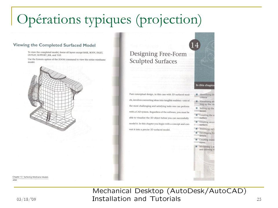 Opérations typiques (projection)