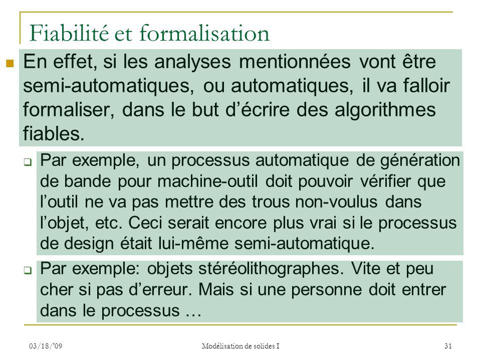 Fiabilité et formalisation