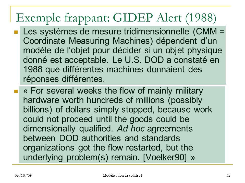 Exemple frappant: GIDEP Alert (1988)