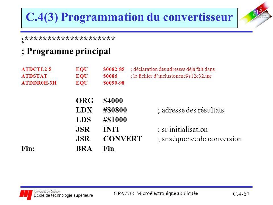 C.4(3) Programmation du convertisseur